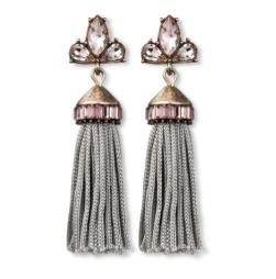 Bauble earrings tassel with crystal