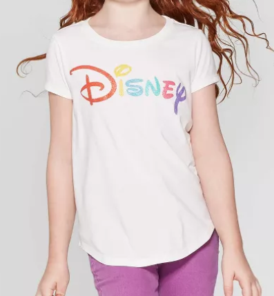 Girls' Disney Logo Short Sleeve T-Shirt - Ivory - image 1 of 3